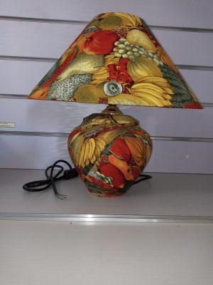 Asian Chinese  Jar Table Lamp Porcelain fruit design